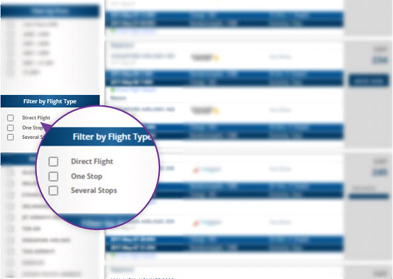 Filter by flight type