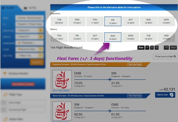 Flexi Fares functionality - availability results page.