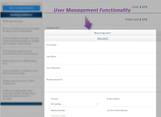 User management functionality